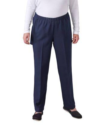 Pantalon femme en gabardine ouvert à l'arrière