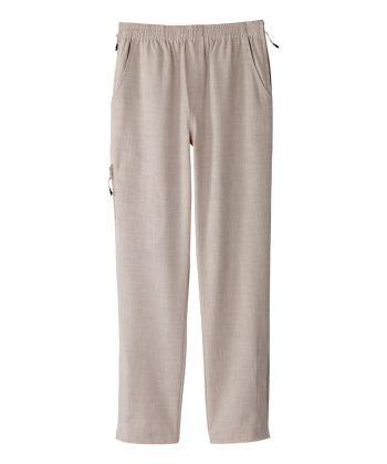 Pantalon lin adapté femme fermeture éclair sur les côtés