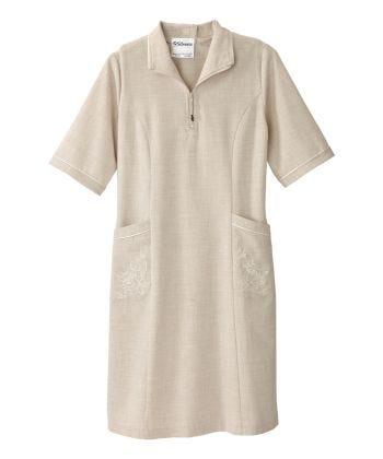 Robe adaptée en lin brodée avec ouverture au dos pour aînée