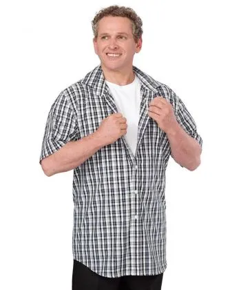 a man wearing a magnetic closure shirt