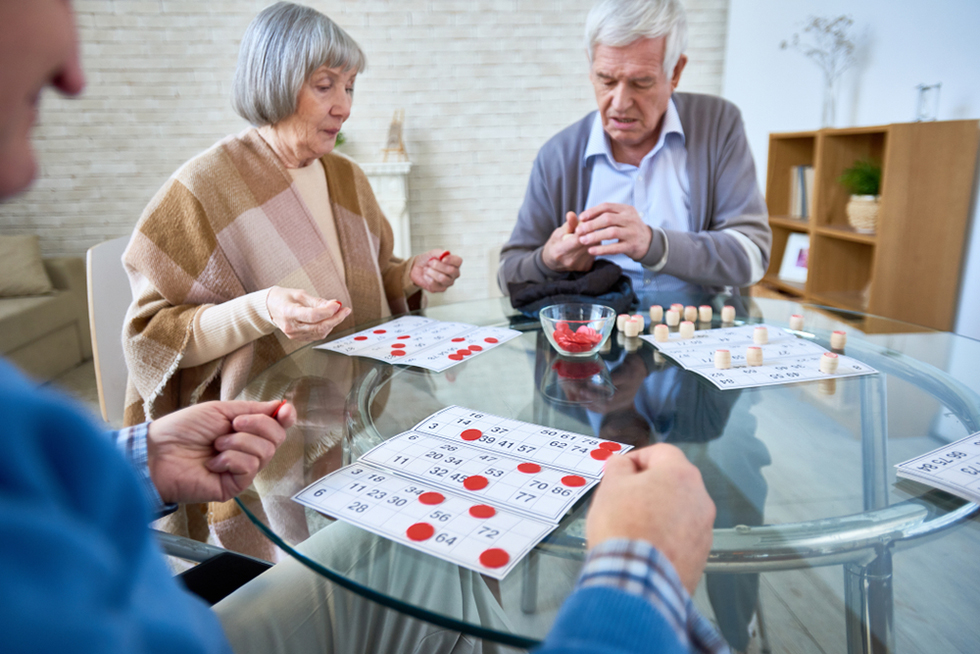 a group of seniors playing games together