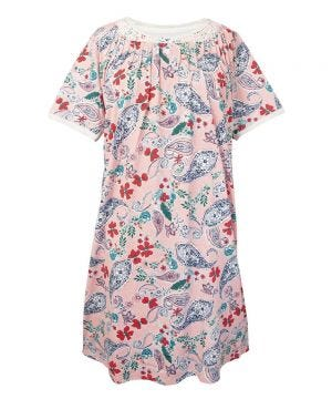 Women's No Peek Hospital & Home Care Gown with Lace Trim