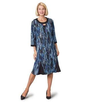 Women's Open Back Flounce 3/4 Sleeve Dress