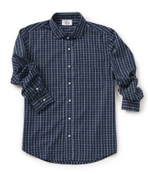 Men's Self Dressing Magnetic Buttons Plaid Dress Shirt