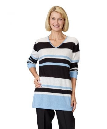 Women's Striped Adaptive Pull Over Sweater