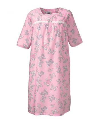 Nightgown Open Back in Pink Butterfly