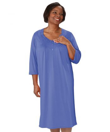 Nightgown Open Back Knit in Oxford Blue