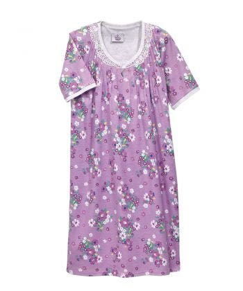 Nightgown O/B Knit Lace in Lilac Floral