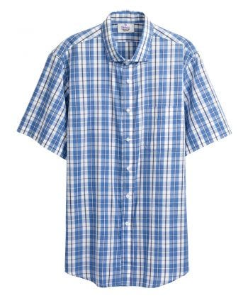 Magnetic Buttons Mens Short Sleeve Shirt Indigo Plaid