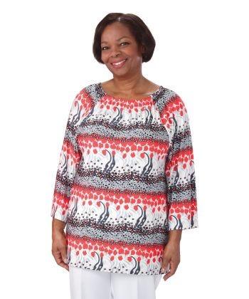Easy Wear Peasant Print Top Ladies in Gray Print