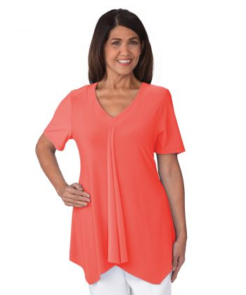 Top Easy Wear V-Neck Ladies in Living Coral