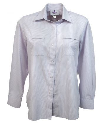 Long Sleeve Blouse Magnetic Front in Lilac Stripe