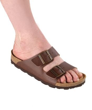 Mens Slip-On Shock-Absorbing Adjustable Sandals  Brown