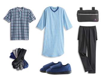 Men's Nursing Home Assisted Kit - Lilac Blue Plaid Collection