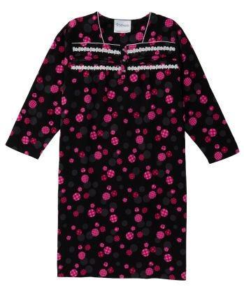 Nightgown Open Back in BLACK DOT