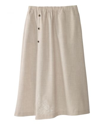 Women's Adaptive Open Back Embroidered Linen Skirt