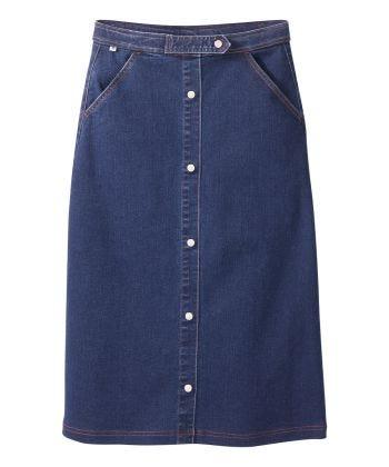 Senior Women's Pull-on Denim Midi Skirt Dark Wash