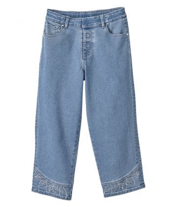 Women's Self Dressing Denim Capris with Magnetic Front Fly & Embroidered Hem