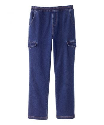 Senior Men's Adaptive Pull-on Jean with Cargo Pockets Dark Wash