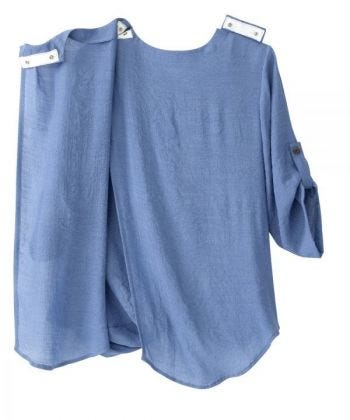 Women's Open Back Henley Top with Convertible Sleeves