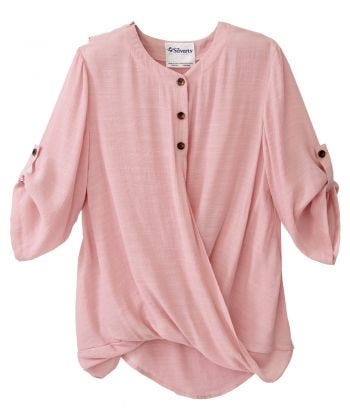 Women's Adaptive Open Back Henley Top with Convertible Sleeves