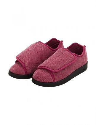 Womens Extra Extra Wide Antimicrobial Easy Closure Slippers