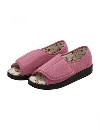 Womens Extra Wide Open Toed Shoes for Indoor & Outdoor  Misty Rose
