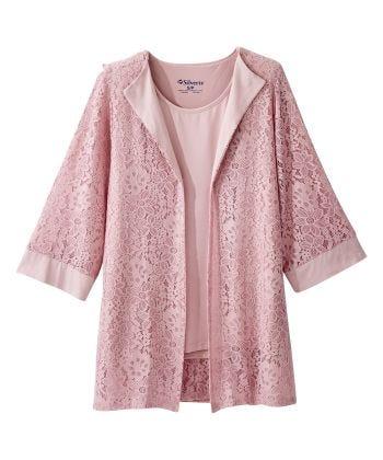 Women's Open Back Lace Blazer Twofer Top