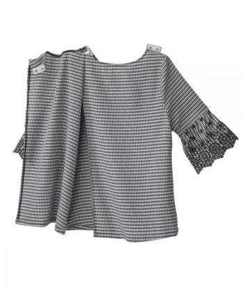 Women's Open Back Top with Embroidered Bell Sleeves