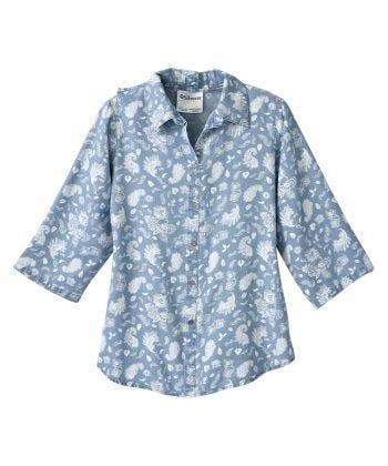 Senior Women's Adaptive Open Back Embroidered Shirt