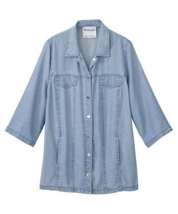 Women's Self Dressing Magnetic Closure Chambray Style Jacket