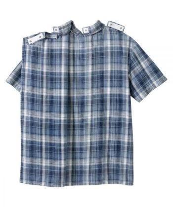Men's Open Back Printed Short Sleeve Dress Shirt