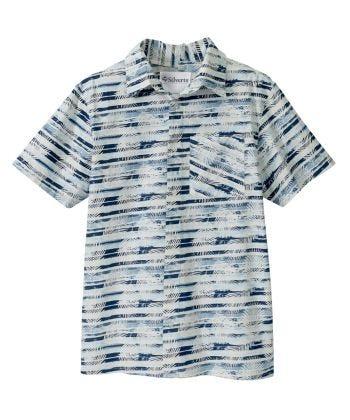 Men's Adaptive Open Back Printed Short Sleeve Dress Shirt