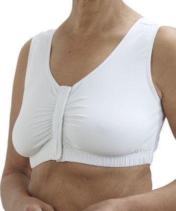 Senior Women's Adaptive Arthritis Easy Front Closing Bra White