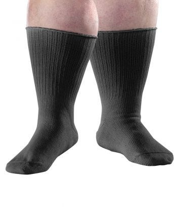2 Pack - Extra Wide Edema Diabetic Socks for Men and Women Black