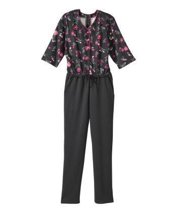 Senior Women's Adaptive Henley Anti-Strip Suit Daisy/Black