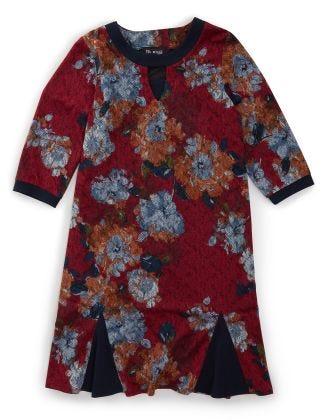 Women's Open Back Flounce 3/4 Sleeve Dress Maroon/Denim