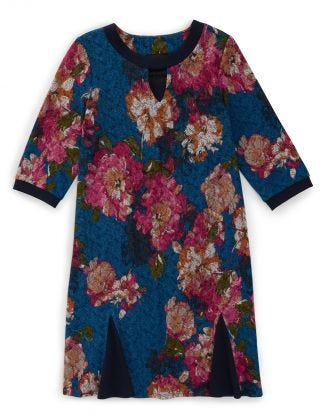 Women's Open Back Flounce 3/4 Sleeve Dress Denim/Fuschia