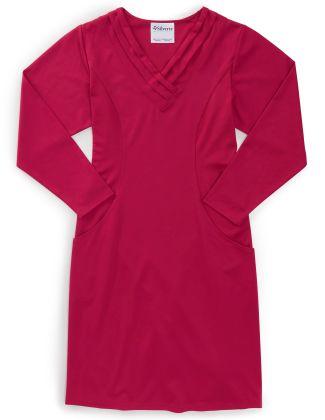 Women's Long-Sleeve Open Back Ponte Dress  Pink