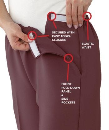 Women's Self Dressing Easy Access Pant