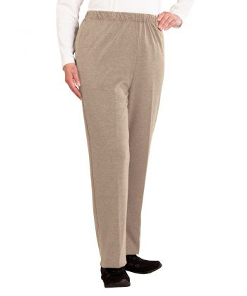 Soft Knit Wheelchair Pants for Women Taupe