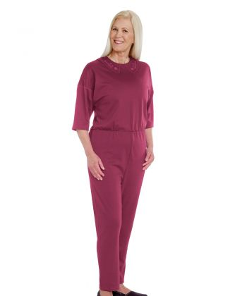 Womens Anti Strip Suit Jumpsuit Burgundy
