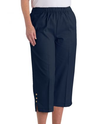 Womens Open Side Arthritis Cotton Capris Pants