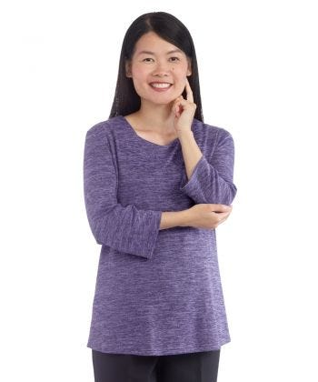 Women's Open Back 3/4 Sleeve Soft Top - Clearance