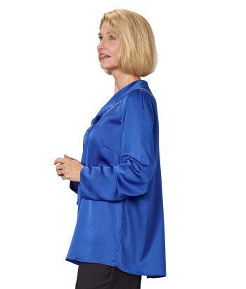 Women's Open Back Tie Front Scarf Blouse