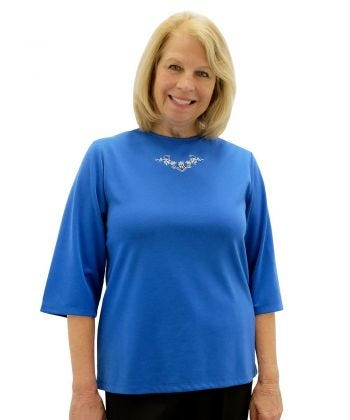 Women's Embroidered Adaptive 3/4 Sleeve Top - Clearance