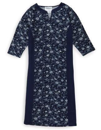 Women's Stylish Color Block Open Back Dress Indigo Floral