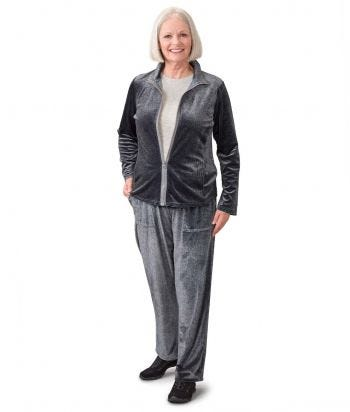 Women's Tracksuit Magzip Top Pull-On Velour Set