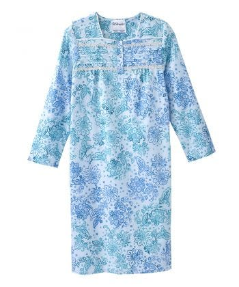 Women's No Peek Flannel Hospital & Home Care Gown