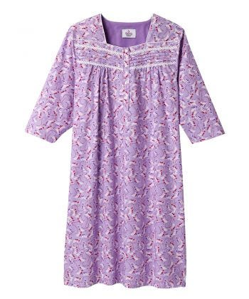 Nightgown Poly/Cotton O/B in Lilac Vine